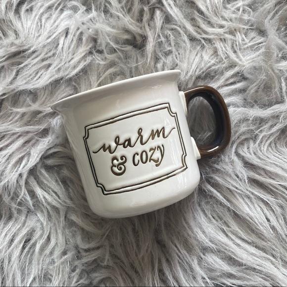 "Threshold Cream & Brown ""Warm & Cozy"" Coffee Mug"